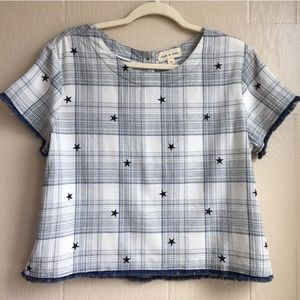 Cloth and Stone Plaid Stars Button Back Top